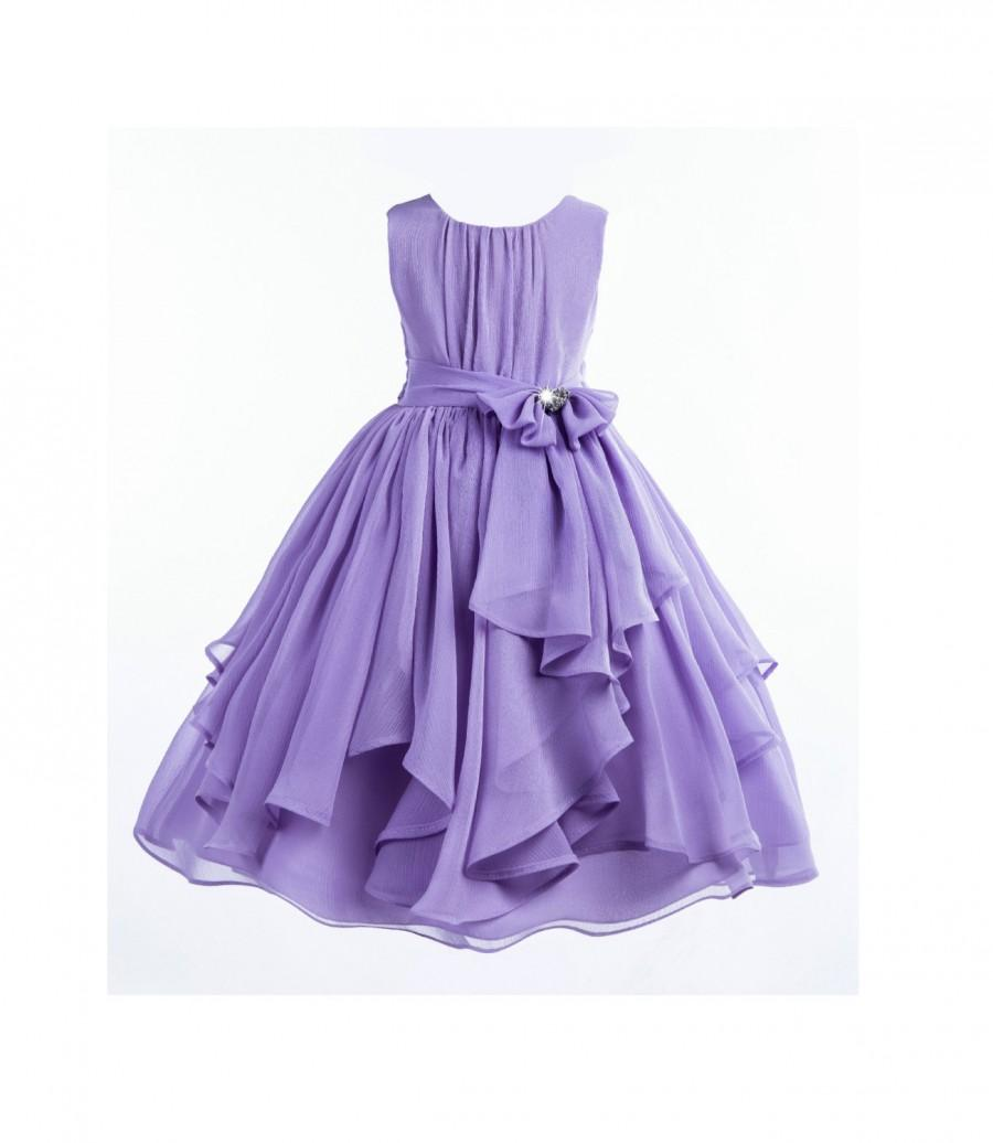 زفاف - Elegant Lilac Purple Yoryu Chiffon ruched bodice rhinestone Flower girl dress wedding birthday bridesmaid toddler size 4 6 8 9 10 12