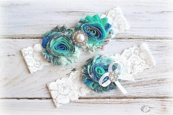 Свадьба - 29 Different Colors TURQUOISE FLORAL Wedding Bridal Garter Set Keepsake Toss Garder
