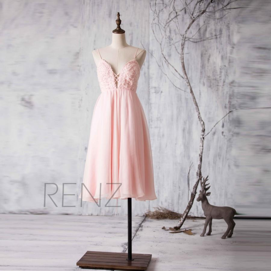 2017 Peach Chiffon Bridesmaid Dress Blush Pink Wedding Spaghetti Strap Sweetheart Party Short Formal Knee Length H068