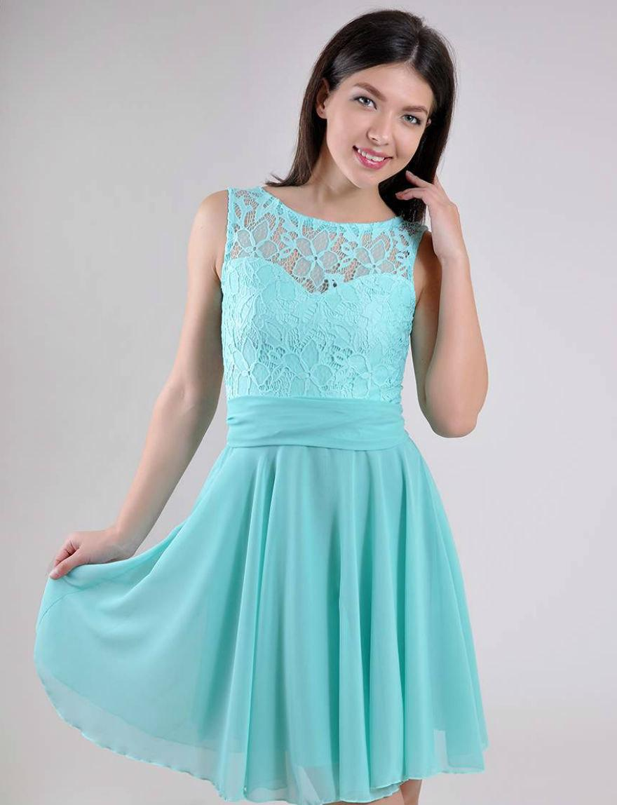 Turquoise Wedding Dress Lace Short Bridesmaid Chiffon Prom Evening Cute Summer