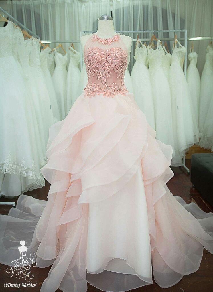 Pastel Pink Starlight Wedding Dress Bridal Gown Prom Formal