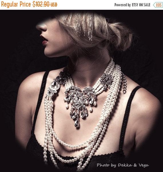 Свадьба - Wedding jewelry, OOAK Bridal bib necklace, vintage inspired pearl necklace, rhinestone Victorian bridal necklace