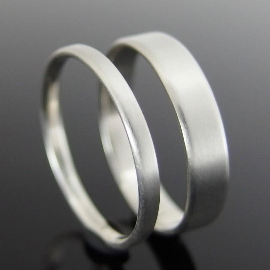 Flat Profile Sterling Silver Wedding Ring Set Band 1 4 X Mm And 2 Satin Finish