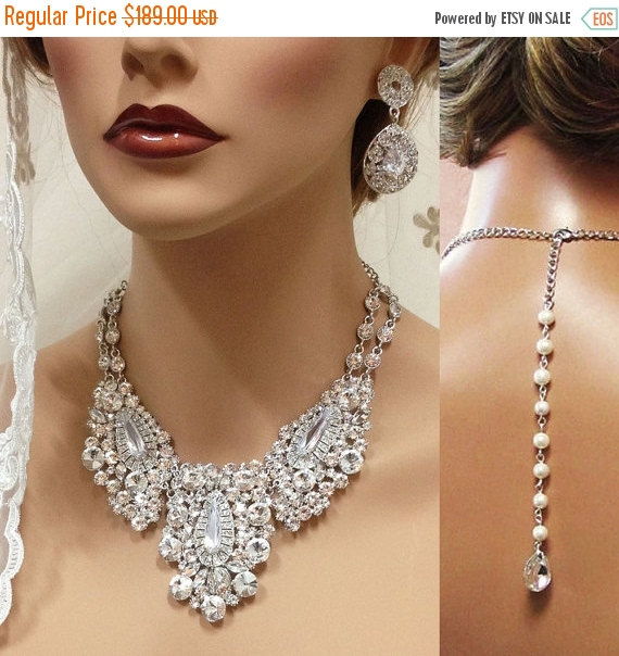 Hochzeit - Bridal jewlery, Bridal back drop bib necklace earrings , vintage inspired rhinestone bridal necklace statement, wedding jewelry