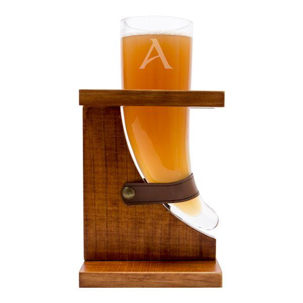 Свадьба - Personalized 16 Oz. Viking Beer Horn Glass With Wood Stand