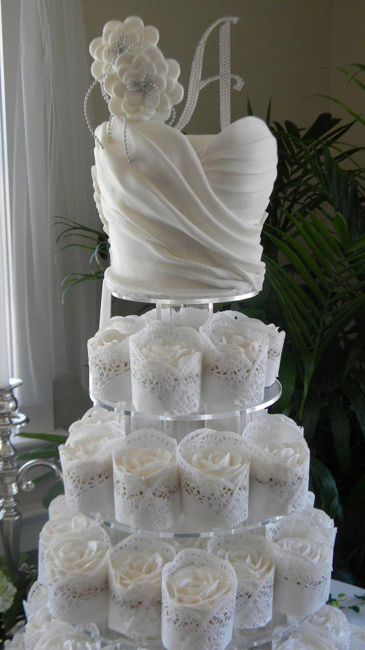Wedding Dress Cupcake Tower For Bridal Shower Puck Wedding 2475739 Weddbook