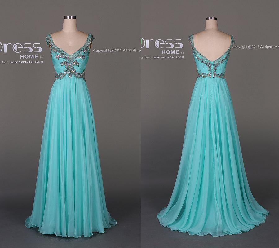 Свадьба - 2016 Sweet 16 Turquoise Beading Lace Prom Dress/Sexy V Back Beading Prom Dress/Custom Made Evening Gown/A Line Long Chiffon Prom Dress DH302