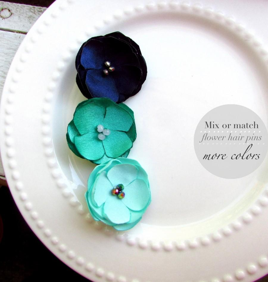 Pick your colors 3 small silk flower hair pins mint and navy bridal pick your colors 3 small silk flower hair pins mint and navy bridal hair accessories wedding hair flowers hair clip jade emerald green mightylinksfo