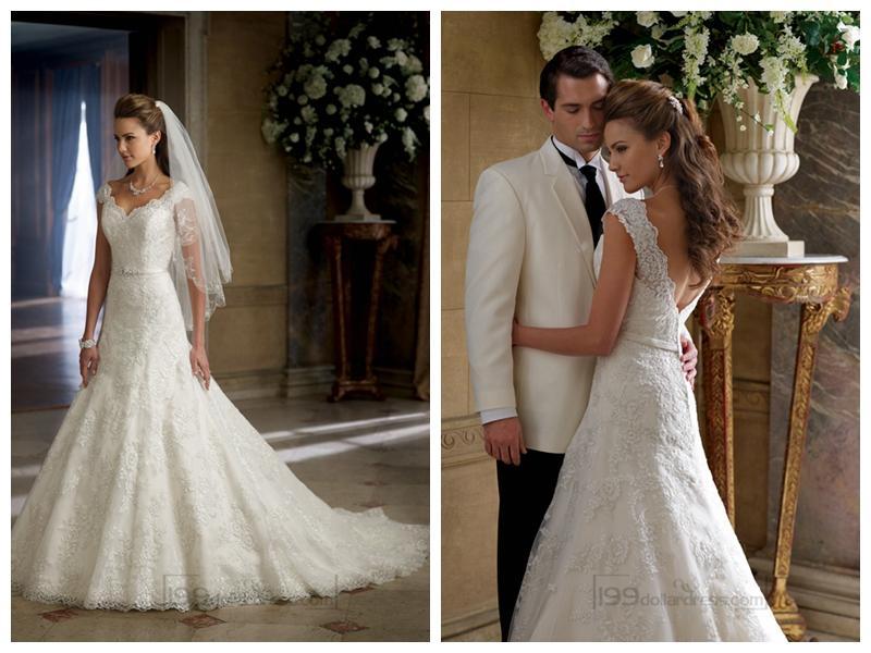 Свадьба - A-line Cap Sleeves V-neck and V-back Wedding Dresses