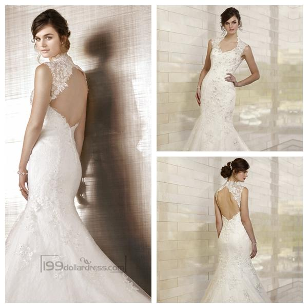 Fit and flare queen anne neckline embroidered wedding for Queen anne neckline wedding dress