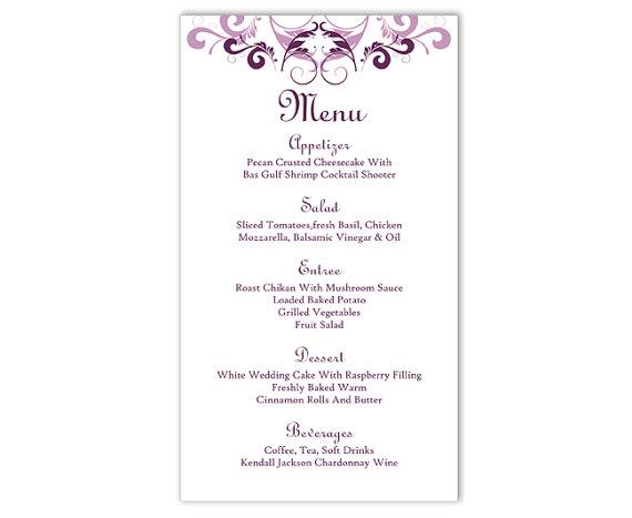 Wedding Menu Template DIY Card Editable Text Word File Instant Download Purple Eggplant Printable 4x7inch