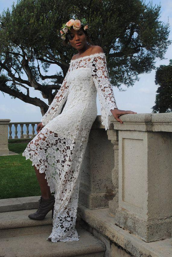 زفاف - High Low Lace BOHEMIAN WEDDING DRESS