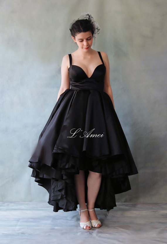 Y Deep V Neck Line Short Front Long Back Black Wedding Dress Perfec For The Dancing Bride