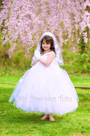 dae27a19ccc6e First Holy Communion Dress, Communion Dress, Holy Communion, Flower Girl  Dress, Tulle Dress, Tulle Tutu Dress, Tulle Dress, My Precious Tutu