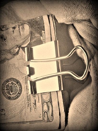 "Свадьба - Modified 1 1/4"" sterling silver binder clip (money clip)"