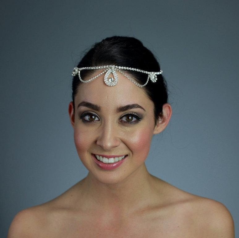 Свадьба - Rhinestone Head Piece with Expandable Chain and Closures on the back - Ships in 2 weeks