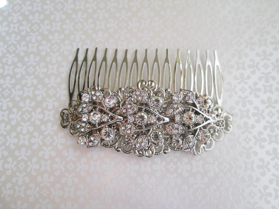 Свадьба - Bridal Barrette, wedding hair clip, Rhinestone barrette, Vintage Style, Crystal Hair Brooch, wedding Clip, Silver head piece