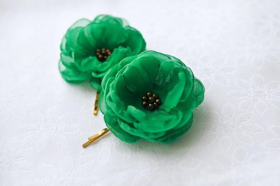 Свадьба - SALE - Green Hair Flowers Wedding Hair Accessories Green Hairpiece Green Flower Clips Emerald Green Hair Flowers Gift for Bridesmaids Gold