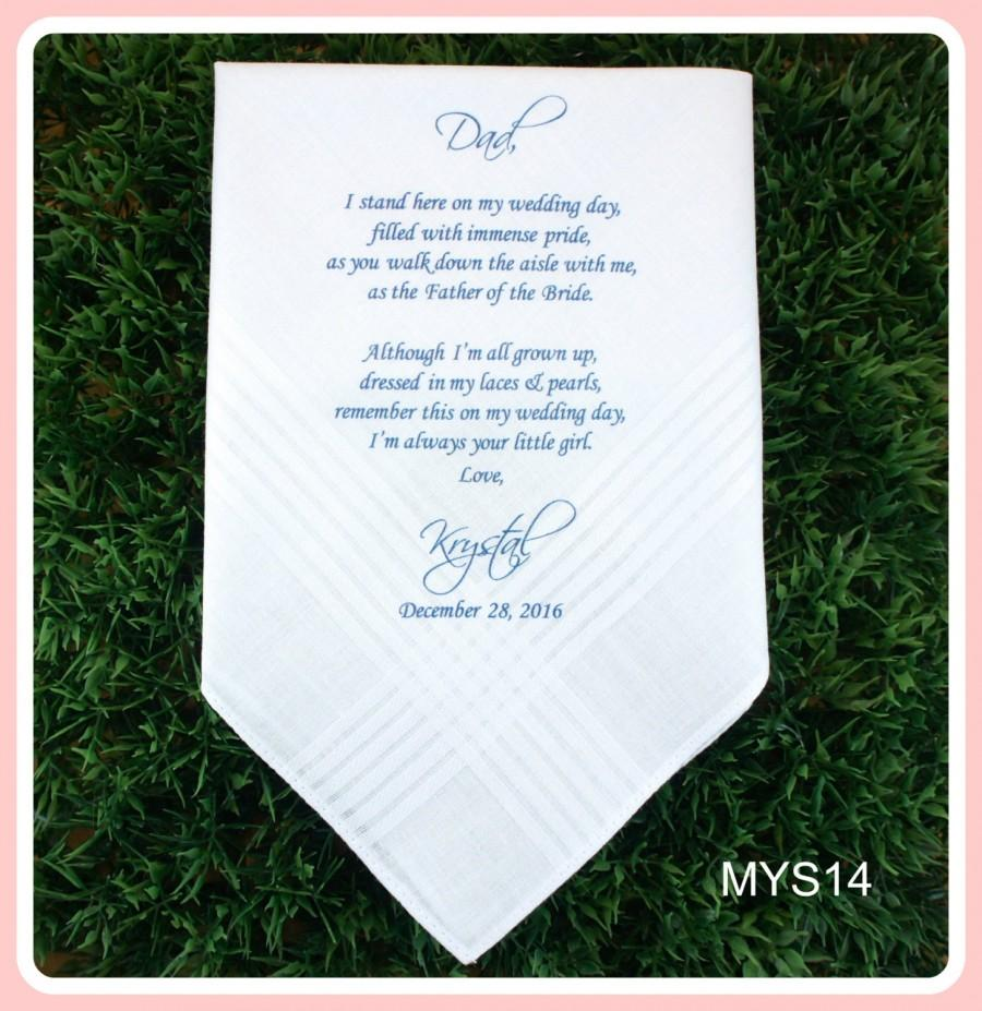 Hochzeit - Father of the Bride Hankerchief-Wedding Handkerchief-PRINTED-CUSTOMIZED-Wedding hankies-Father in Law-Wedding Gift-Father of the Bride Gift