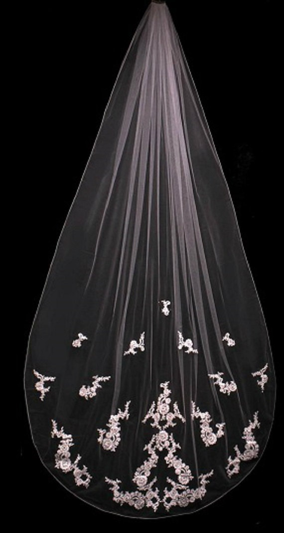 Hochzeit - French Lace Cathedral Veil