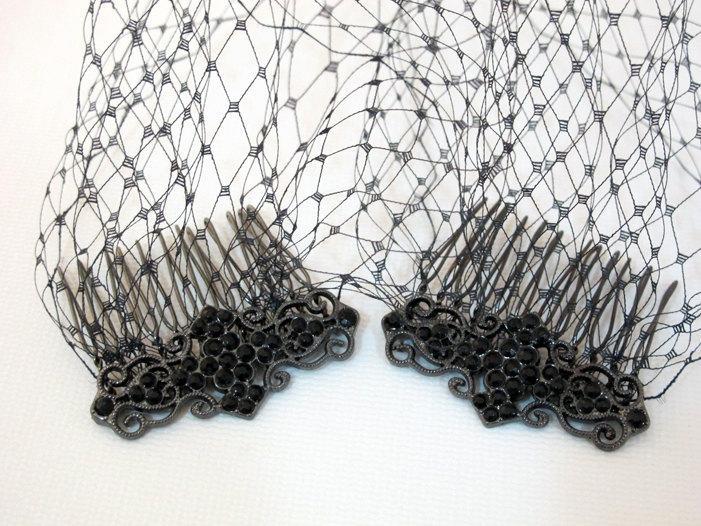 Свадьба - Bandeau Style Black Birdcage Veil, Ladies Black Veil, Black Blusher 9 inch French Net Veil, Rhinestone Combs