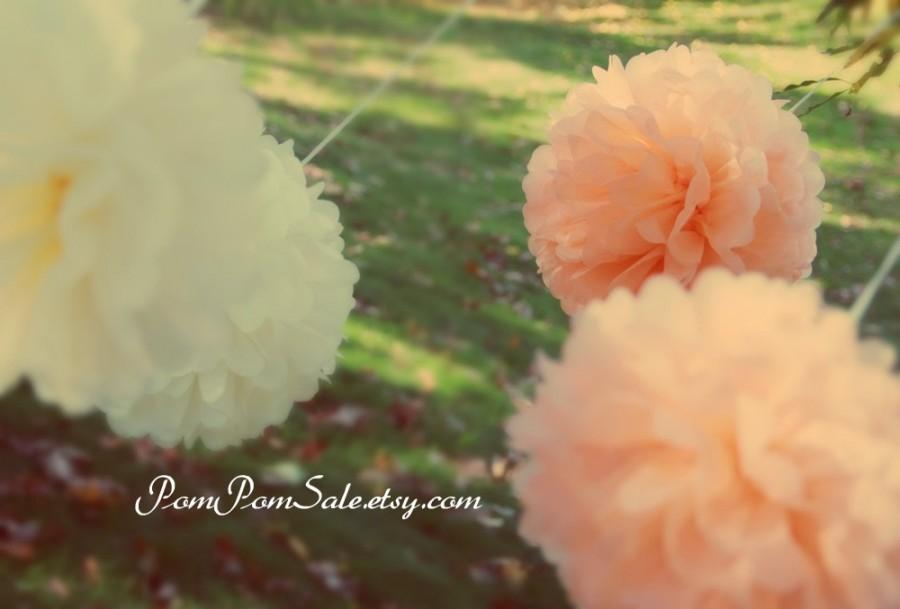 Mariage - One Special Day - 12 Tissue Paper Pom Poms - Fast Shipping - Wedding / Baby Shower / Bridal Shower / Birthday Party /  Nursery Decoration