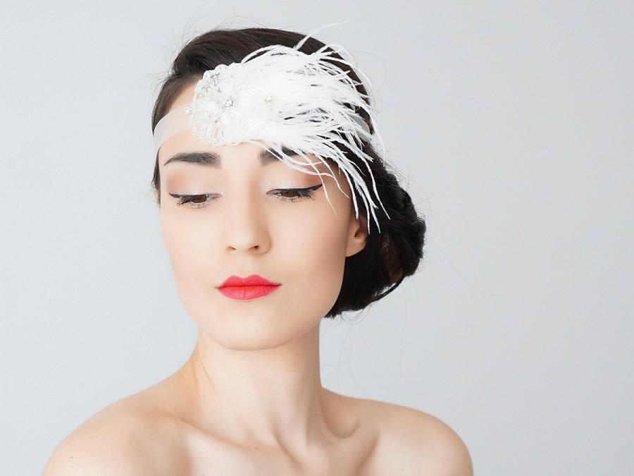 Mariage - Soanne Bridal Headband Bridal Headpiece Flapper Headband Retro Headband Wedding Accessories Bridal Accessories Feather Headband
