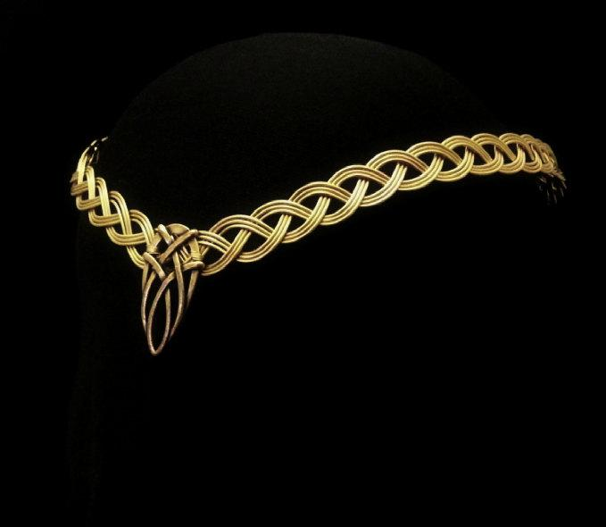 Mariage - Gold Celtic Handfasting wedding elven tiara circlet pagan