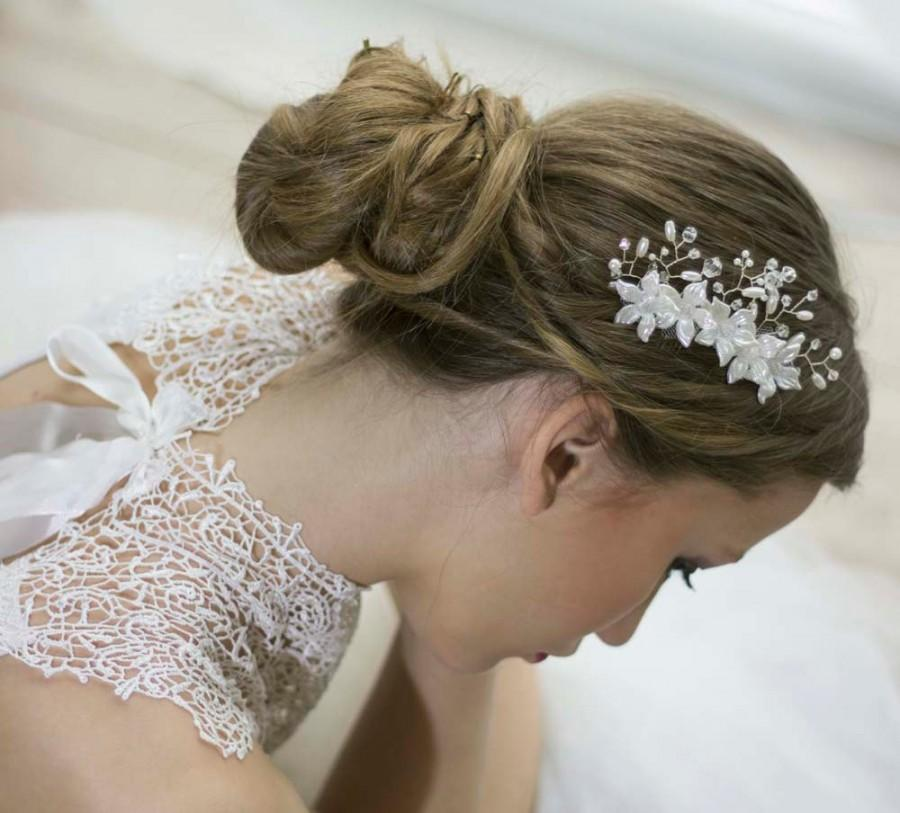 Mariage - Bridal Hair Comb, Bridal Hairpiece, Pearl Hair Comb, Bridal Head Piece, Floral Hair Comb, Floral Hairpiece, Hair Vine Comb, Wedding Comb