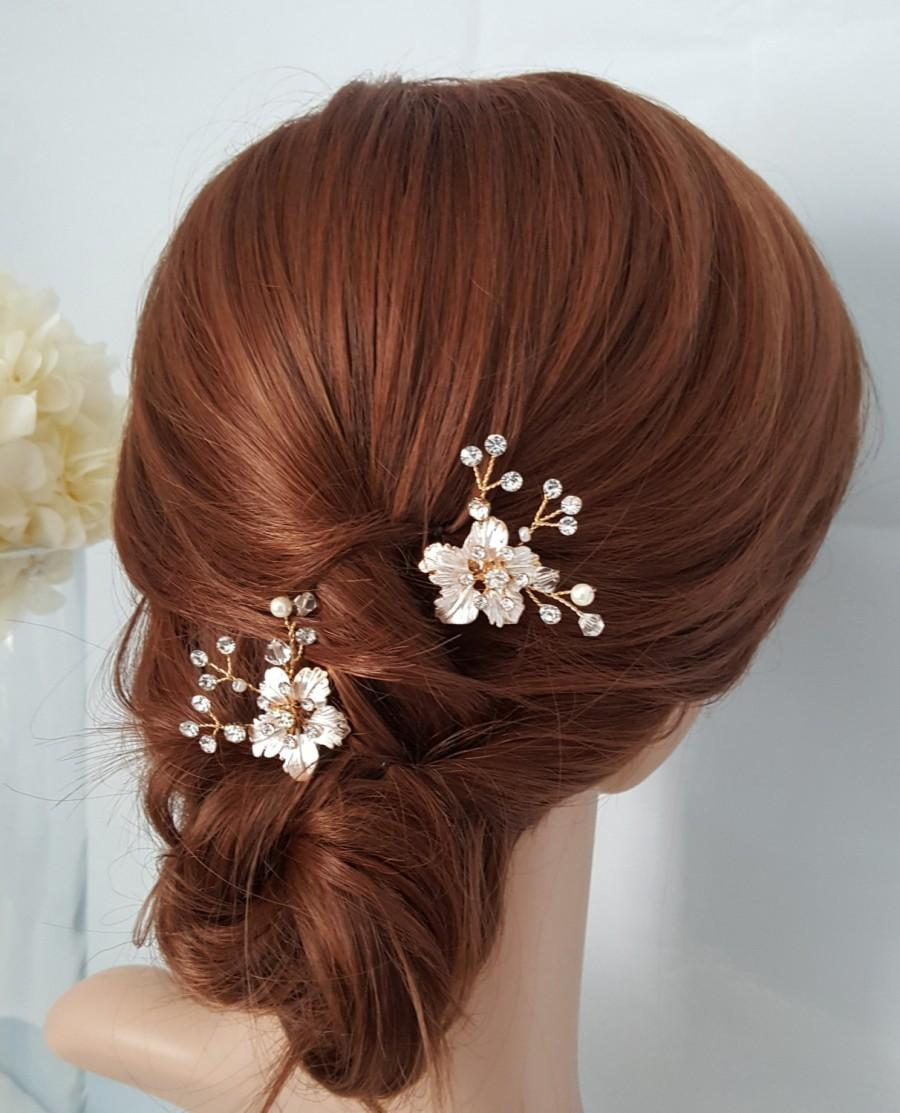 Mariage - Bridal Comb Rose Gold Wedding Hair Comb Small Hair Comb Crystal Leaf Comb Set of 2