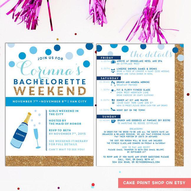 زفاف - Bachelorette Itinerary, Bachelorette invite with itinerary, winter blue gold bachelorette, hens weekend invitation, gold glitter, digital