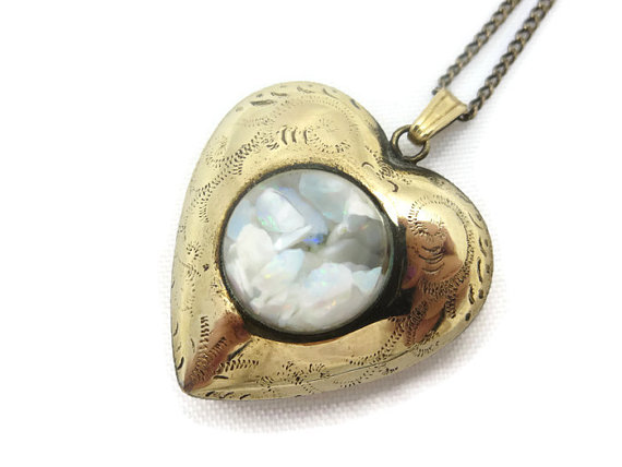 Opal heart pendant 12k gold fill puffy heart charm etched opal heart pendant 12k gold fill puffy heart charm etched bubble october birthstone aloadofball Gallery