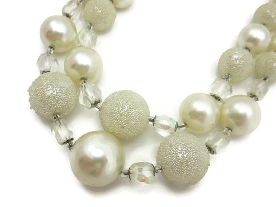 Wedding - White Beaded Necklace - Double Strand Sugared Costume Jewelry