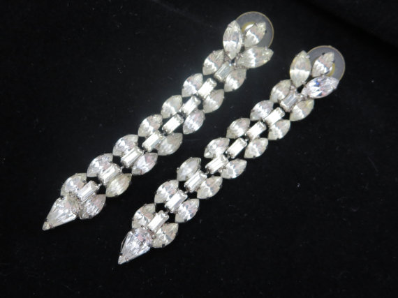 Свадьба - Long Rhinestone Earrings - Vintage Bridal, Wedding, Pierced Dangles