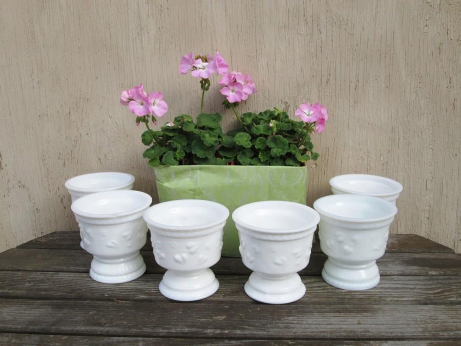 Свадьба - Milkglass Pedestal Bowls - Footed White Glass Bowls - Milk Glass Wedding