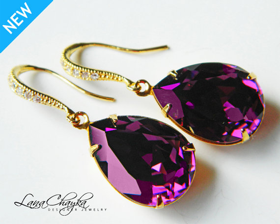 Amethyst Gold Crystal Earrings Swarovski Purple Rhinestone Teardrop Dangle Wedding Jewelry