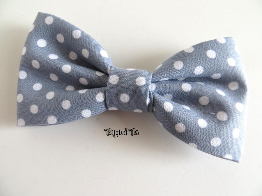 زفاف - Grey Bow Tie, Wedding Bow Tie, Grey Polka Dot Bow Tie, Grey Groomsmen Bow Ties