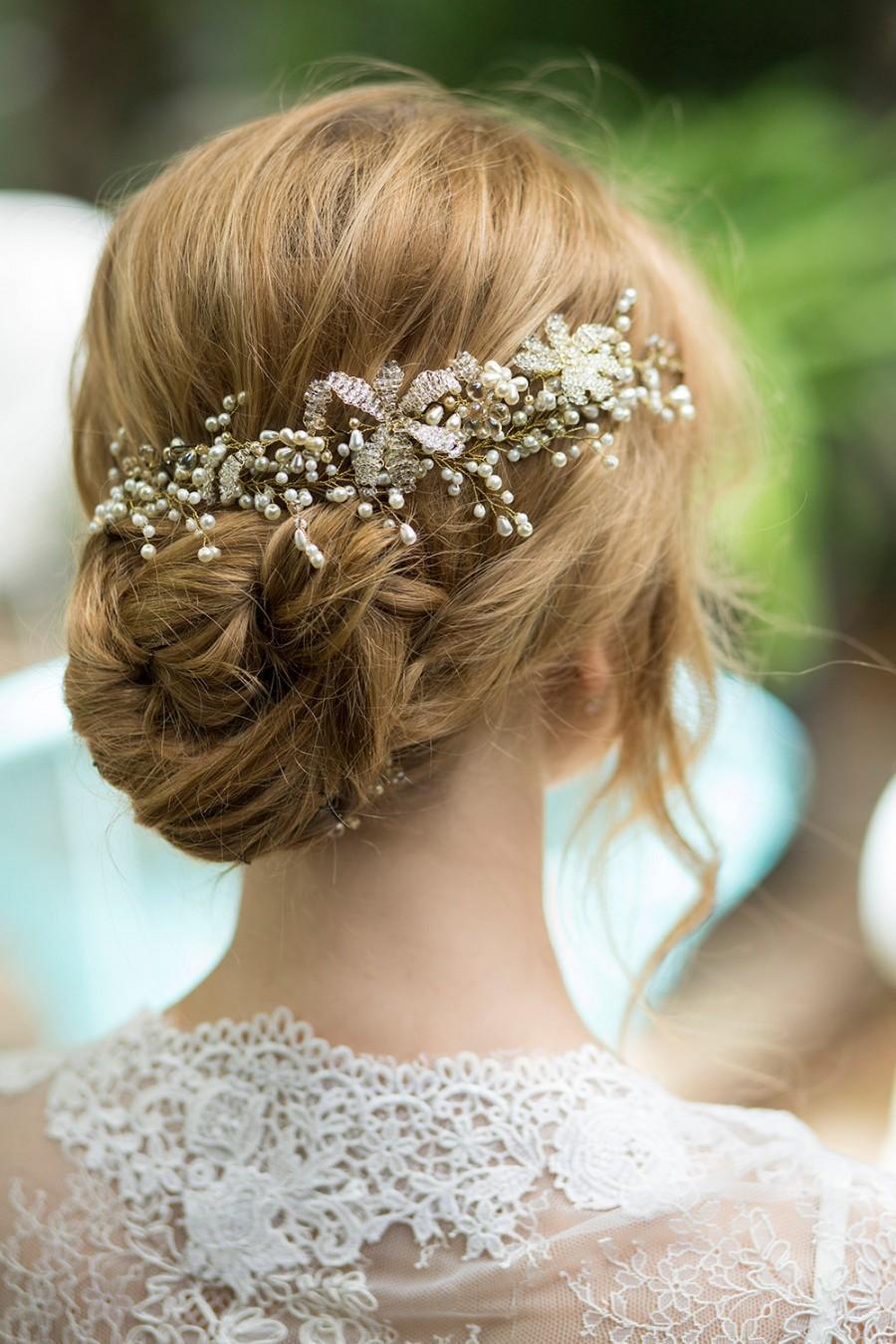 Hochzeit - SALE! Bridal headpiece, pearls hair piece, beaded wedding hairpiece, pearl hair jewelry. The Fuchsia headpiece.