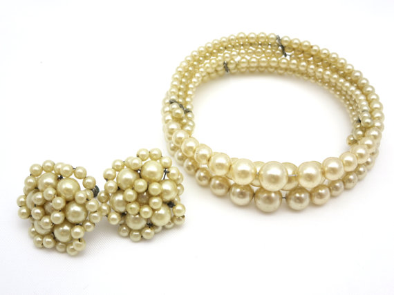زفاف - Champagne Pearl Set - Earrings and Necklace Demi Parure