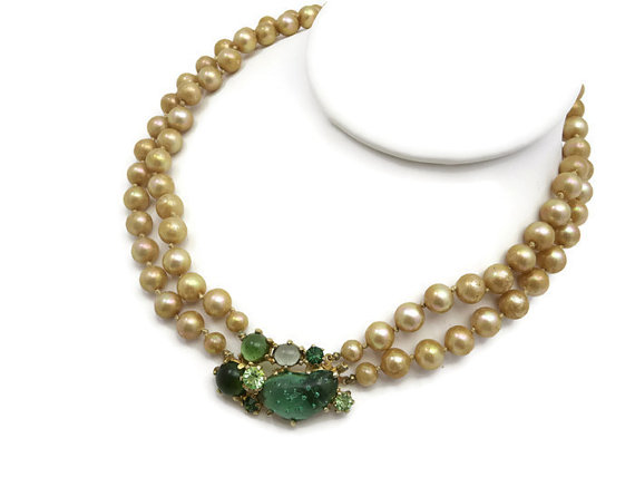 Wedding - Castlecliff Pearl Necklace - Green Glass Stone Clasp, Costume Jewelry, 1950s, Bridal Wedding