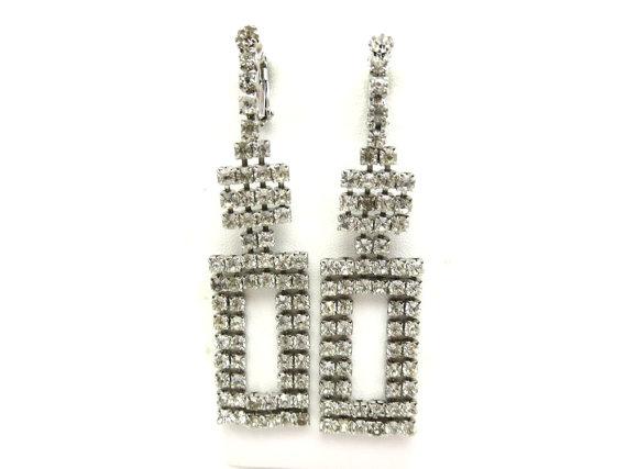Свадьба - Hobe Rhinestone Earrings - Long Dangles Clip Clear Stones Bridal Wedding Art Deco