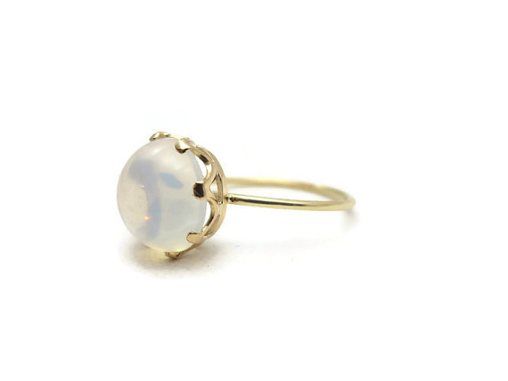 Mariage - Victorian Moonstone Ring - 14k Gold Antique Engagement Ring, Stick Pin Conversion, 1900s Fine Estate Jewelry