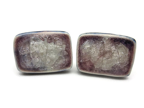 Wedding - Crackle Glass Ceramic Cuff Links - Glass Inlay Mens Accessories Cufflinks