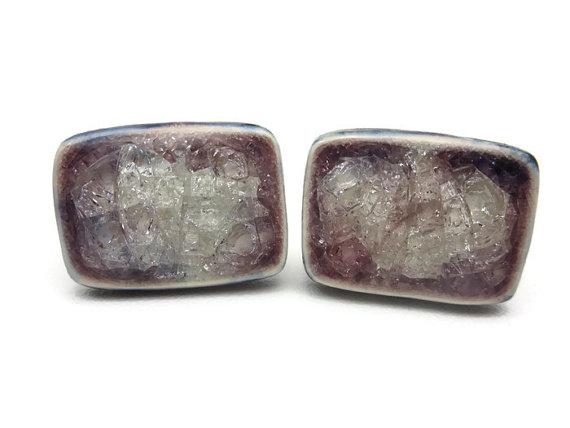 Wedding - Crackle Glass Ceramic Cuff Links - Glass Inlay Mens Accessories Cufflinks
