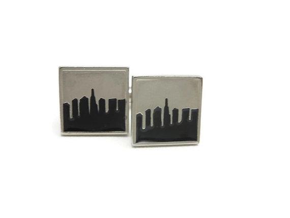 Mariage - City Skyline Cufflinks - Silver Black, Vintage Mens Accessories
