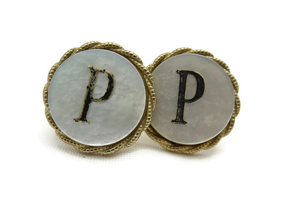 Mariage - Initial P Cufflinks - Mother of Pearl, Mens Cuff Links