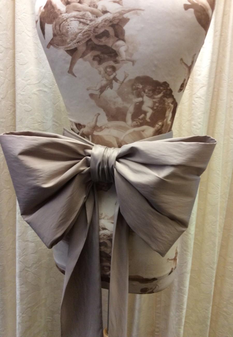 زفاف - Extra Large Coffee/Latte Taffeta Bridal Sash Bow