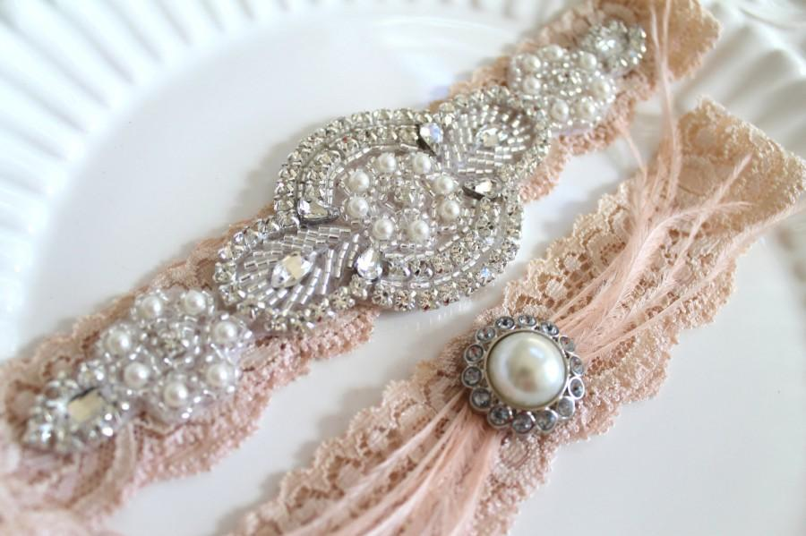 Wedding - Bridal Gatsby Nude Beaded Applique Rhinestone Pearl Garter Set.  Ostrich Feather Crystal Blush Stretch Lace Wedding Garter set.  GATSBY LOVE