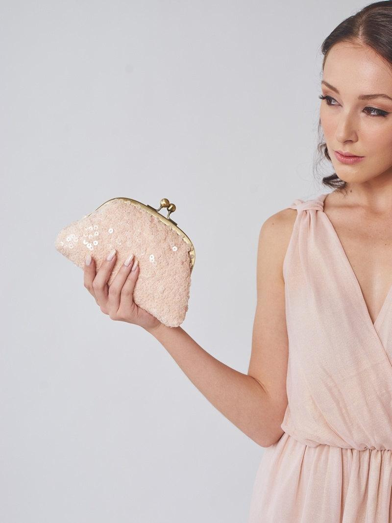 Wedding - Blush Sequin Bridesmaid Clutch
