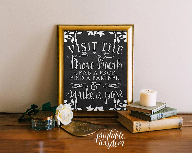 Свадьба - Photo booth sign, wedding photo booth chalkboard sign printable wedding photo booth props, chalkboard wedding sign, Printable Wisdom INSTANT